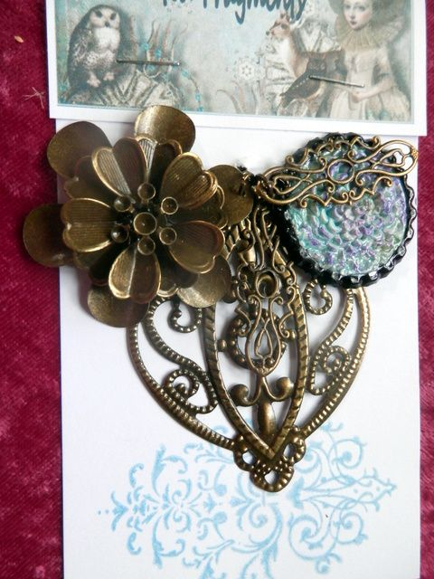 Enchanted Fragments. Filigree and a hand crafted clay pendant. $ 10.00