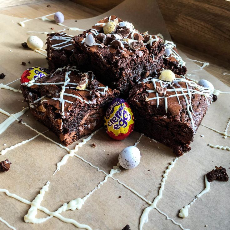 Easter Brownies! The perfect indulgent treat, chocolate brownies laced with mini eggs and creme eggs throughout!
