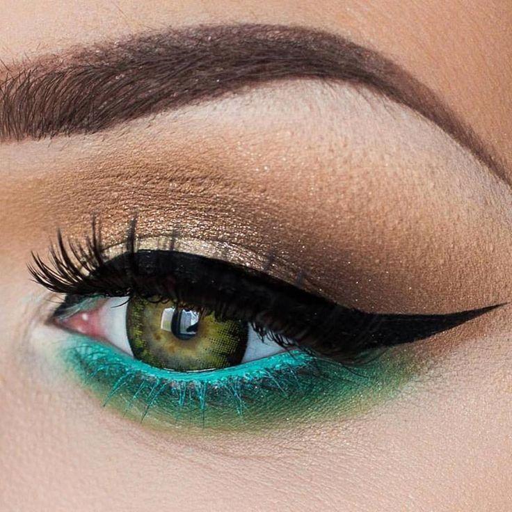 Machiaj de ochi in tonuri de verde, albastru si bronz. #machiajdeochiverde #machiajpleoapainferioara