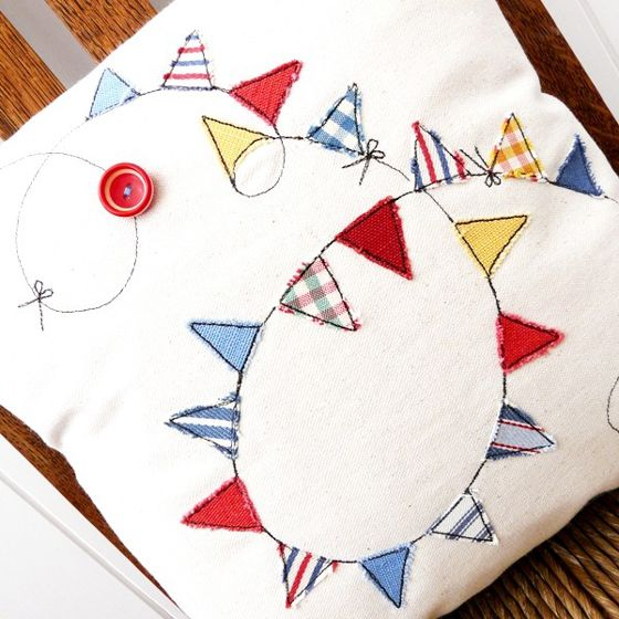 another super cute cushion with sewn on bunting...
