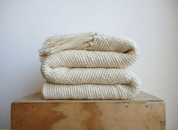 Chunky Ecru wool woven Blanket, natural organic merino wool, Off White warm throw blanket