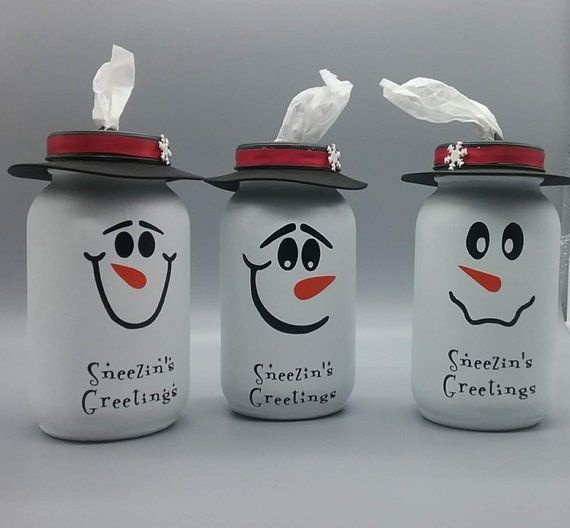 Snowman Mason Jar Tissue Dispenser In 2020 Mason Jar Crafts Diy Christmas Mason Jars Christmas Jars