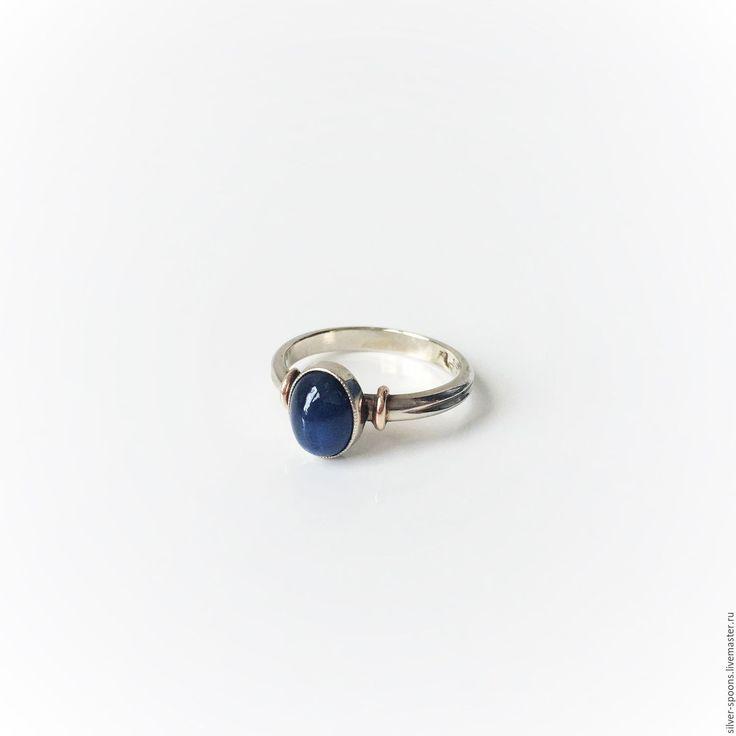 Купить Кольцо с темно-синим сапфиром. Украшение с натуральным сапфиром. - кольцо, кольцо с камнями