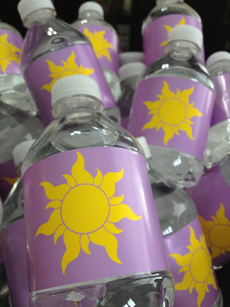 Tangled sun water bottles for Rapunzel party
