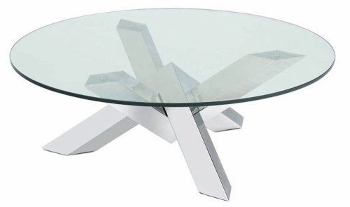 "Coast Coffee Table by Vanillawood. $1060.00. Clean lined and contemporary, this coffee table adds just the right amount of modern to your living room. Specifications: 14 1/4"" H x 41 1/2"" Dia 12mm clear tempered glass top. High polished stainless steel base. Additional shipping charges may occur."