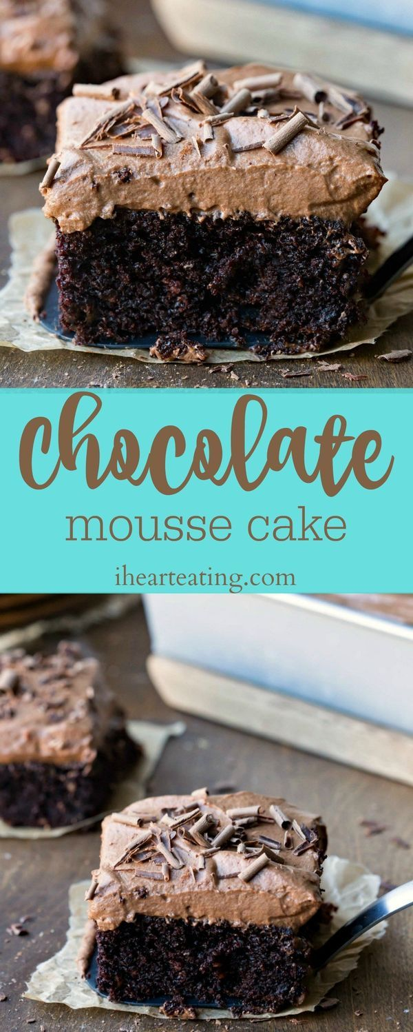 Chocolate Mousse Cake Recipe- this cake is crazy good! I could eat this for dessert every day!