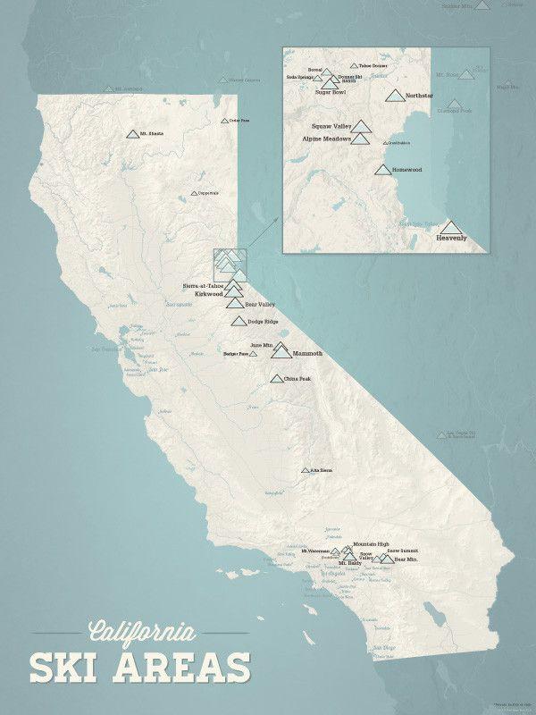 California Ski Resorts Map 18x24 Poster