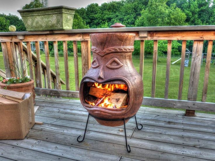 Clay chiminea fire pit fire pit pinterest chiminea for Terracotta chiminea