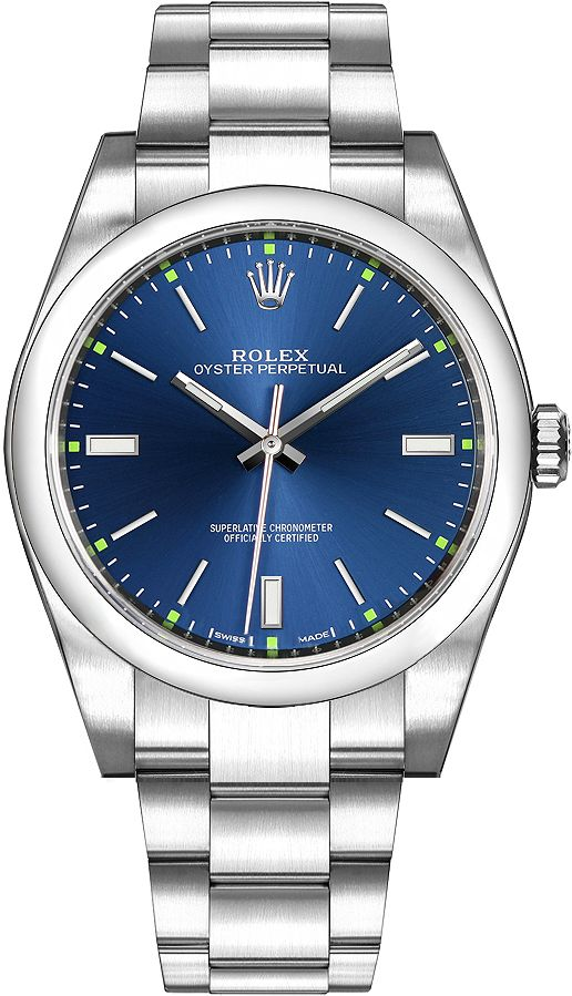 114300ROLEX OYSTER PERPETUAL 39 MENS WATCH IN STOCK - Click to View our Doorbuster Watch Specials! - FREE Overnight Shipping | Lowest Price Guaranteed - No Sales Tax (Outside California) - With Manufacturer Serial Numbers - Blue Dial - Domed Bezel - 48 Hour Power Reserve - Self Winding Automatic Chronometer Movement - Rolex Caliber 3132 - Vibrations Per Hour: 28,800 - Jewels: 31 - 6 Year Warranty - Guaranteed Authentic - Certificate of Authenticity - Manufacturer Box 4975.00