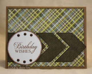 Handmade card featuring patterned papers from Basic Grey Marjolaine, stamps from Verve.