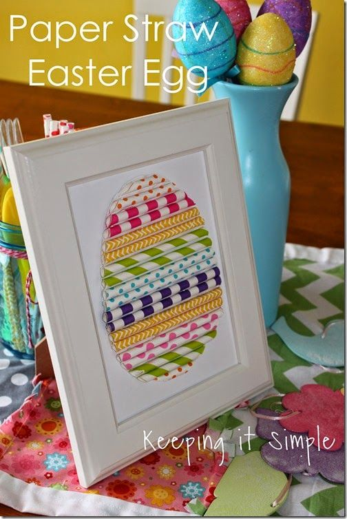 An easter egg made out of those adorable patterned paper straws! love!