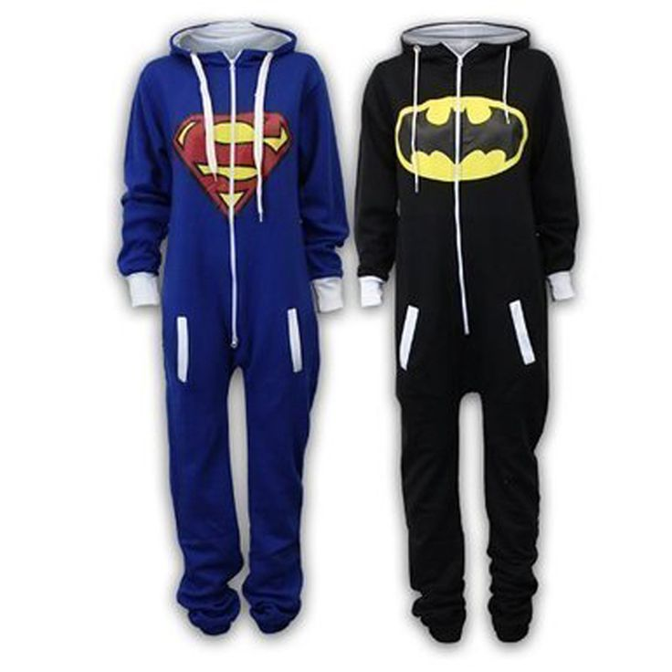 Fashion Unisex Batman Superman Cartoon Long Sleeve Hooded Sweatshirts Casual Couple Home Clothes Black Blue