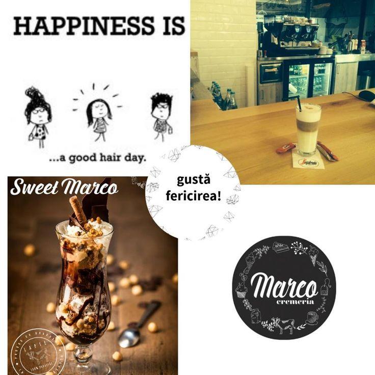 Fericirea poate fi o zi în care-ți stă foarte bine părul și după muncă ieși la o înghețată cu prietenele să înmulțești zâmbetele.  #inghetata #fericire #cremeriamarco