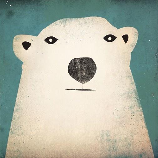 Polar Bear GRAPHIC ART Illustration 7x7 giclee print SIGNED $24.00