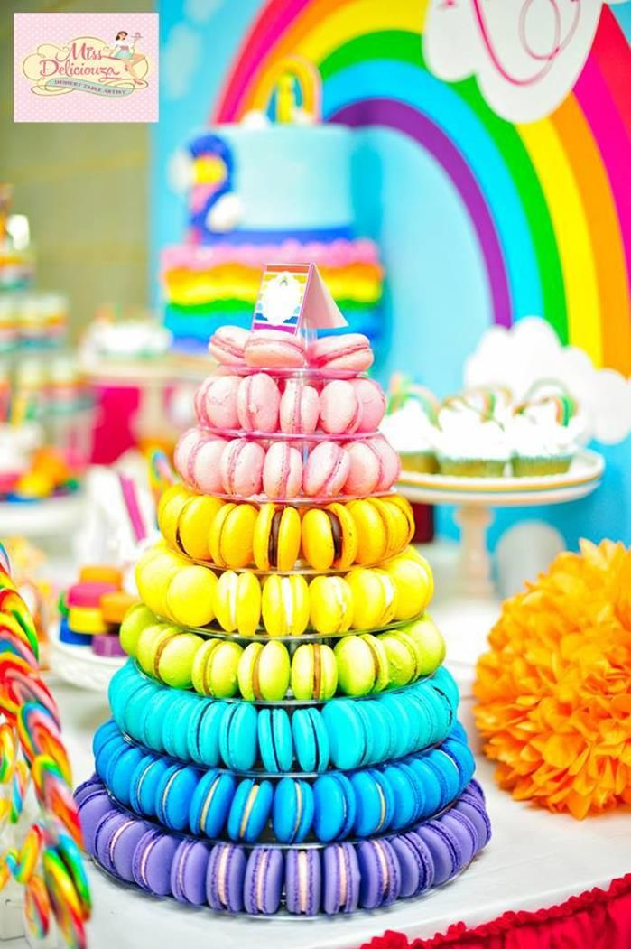 Macaroons are all the rage and this colourful tower is a for 5th birthday decoration ideas
