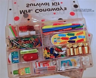 Back to School Teacher's Aide Survival Kit for K's teacher given at the meet and greet. Big hit and fun for K to do.