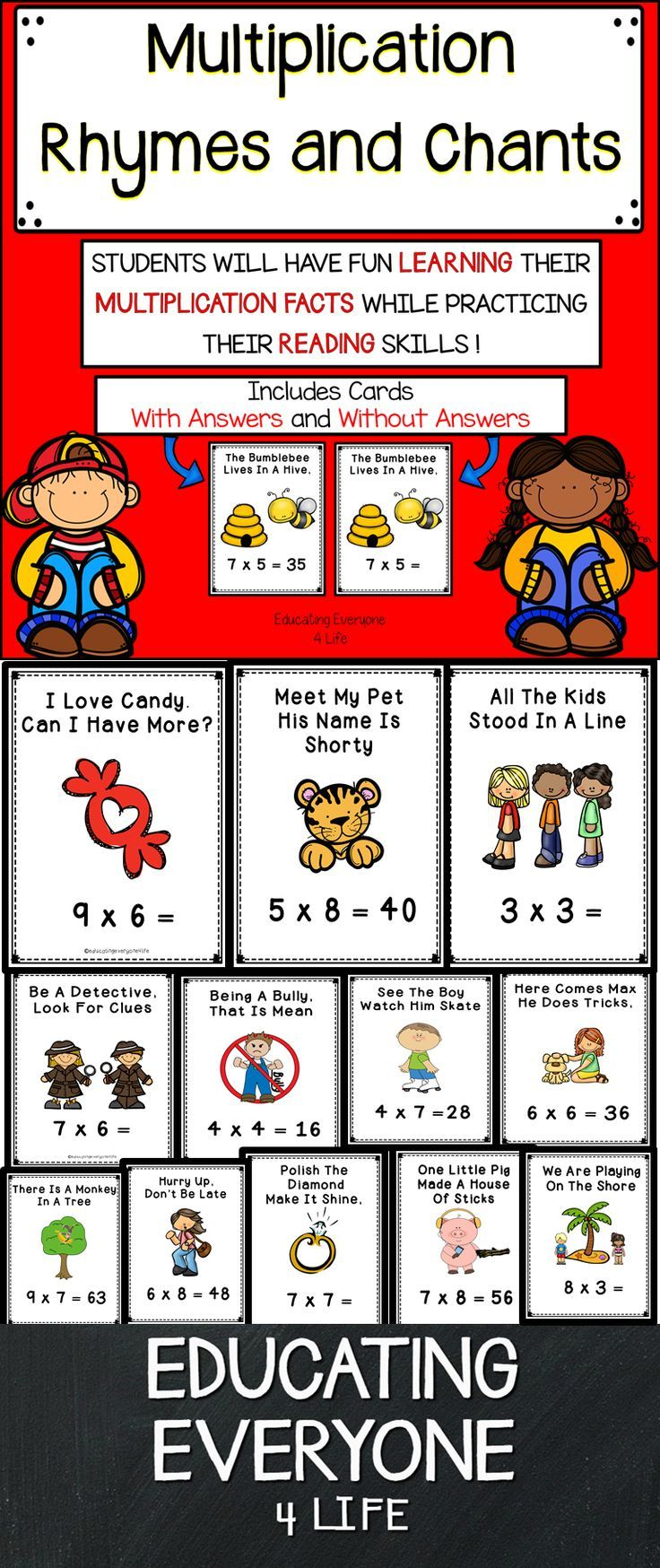 Are you looking for a way to help children master their multiplication facts? This set of multiplication rhymes and chants is a great way to help improve fact recall. This is also a great resource to integrate reading into the math curriculum. #math