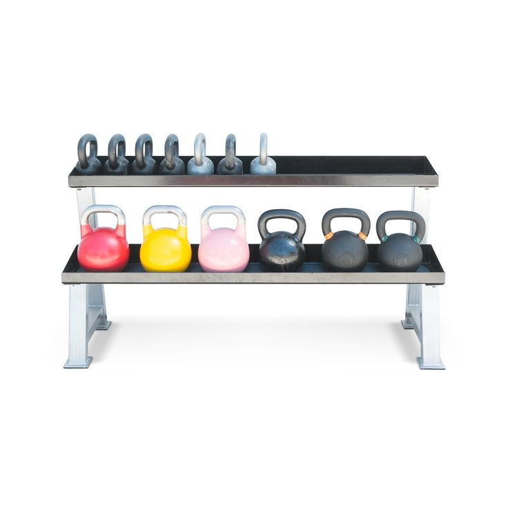 Kettlebell Kings 2 Tier Kettlebell Rack. REVIEWS - Over 100 Five Star Amazon Seller Reviews and thousands 5 Star Reviews Online! EASY ASSEMBLY - Line up the stand and the shelves and simply tighten hardware that comes with the rack. DURABLE - Made of strong steel, designed to support 1,100 pounds of weight. HOLDS - 15 to 25 kettlebells depending on size and weight of kettlebells. IDEAL - for organizing your homegym, high school or college weight rooms and fitness clubs. BEST SELLER - one…