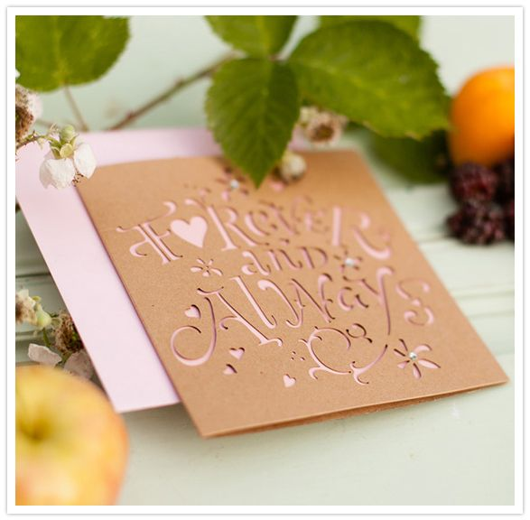letter cut wedding invitation