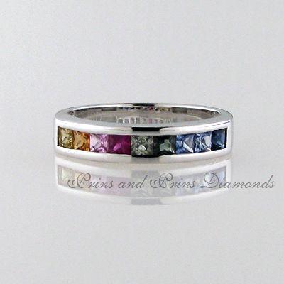 9 = 0.44ct multi coloured square cut sapphires set in 18k white gold
