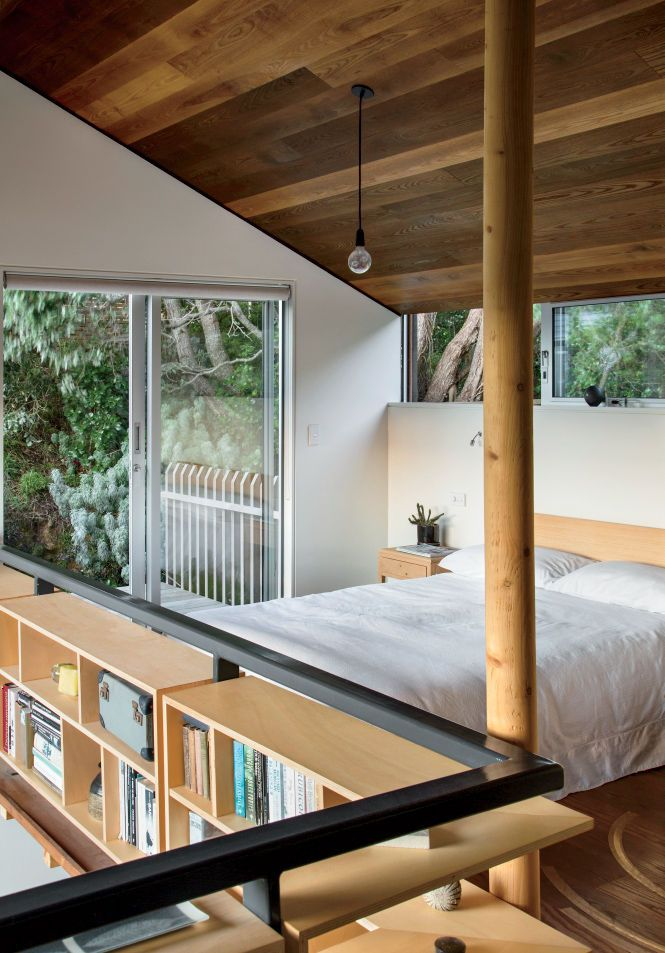 Modern small space in New Zealand with lofted bedroom