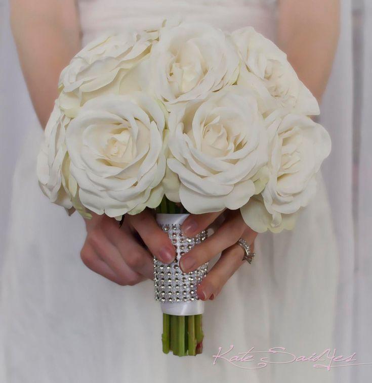 White Rose Wedding Bouquet With Rhinestone Handle