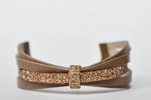 ELYH taupe Bijoux TLB entièrement réalisé à la main #Cuir #handmade #paillettes