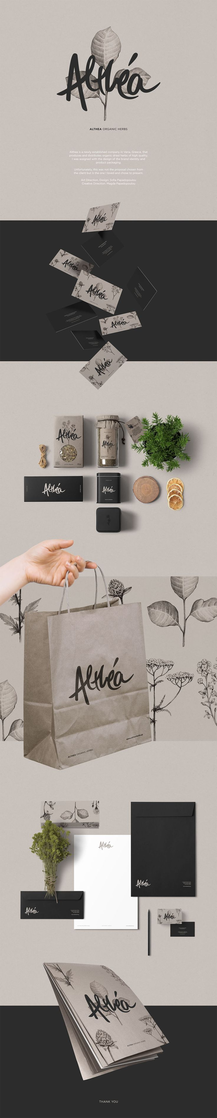 Althea is a newly established company in Veria, Greece, that produces and distributes organic dried herbs of high quality. I was assigned with the design of the brand identity and product packaging.