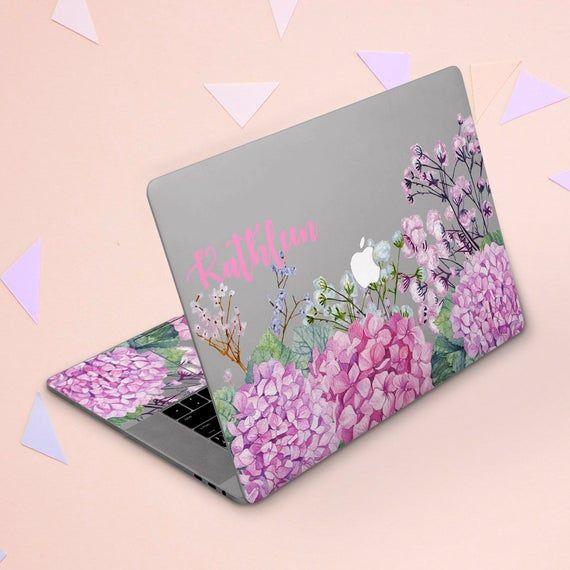 Macbook skin purple Macbook skin name Personalized cover Clear skin Macbook sticker lilac Pink flowe