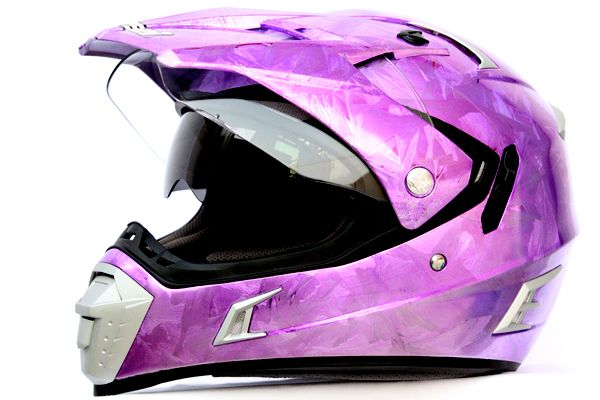 MASEI & GDR PURPLE ICE CHROME 311 ATV MOTOCROSS MOTORCYCLE ICON HELMET