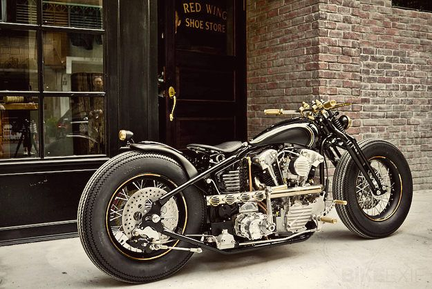 Harley knucklehead, Not a fan of the engine design, but a very interesting interpretation nonetheless.  I especially like the springer front end