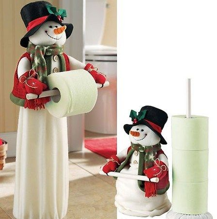 Bathroom Christmas snowman toliet tissue holder