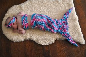 Madison modeling the first mermaid tail I made. Pattern here.