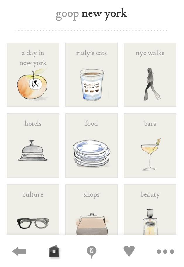Gwyneth Paltrow's City Guides app (goop city)