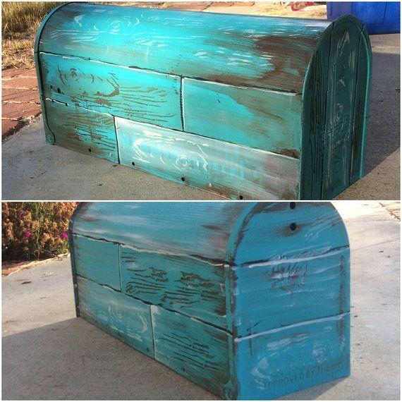 Painted Mailbox Ideas Custom Hand Painted Mailbox Distressed Beach Rural Mailbox Wedding Pinterest Hand Painted Mai Painted Mailboxes Diy Mailbox Rural Mailbox