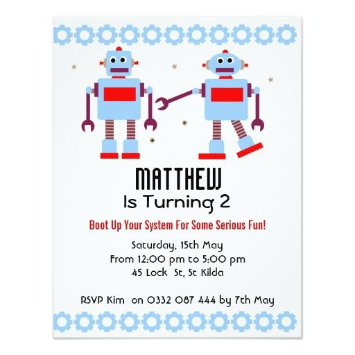 408 best robot birthday party invitations images on pinterest boys robot birthday party invitation filmwisefo Gallery