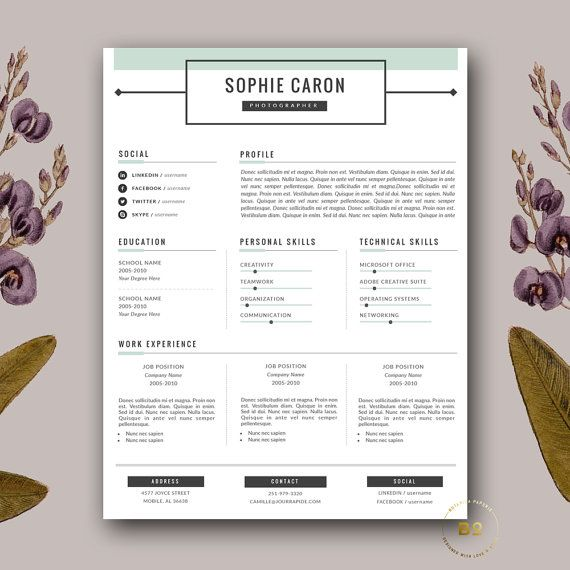 resume template 3 page resume and free cover letter for word creative resume writing customizable cv template instant download