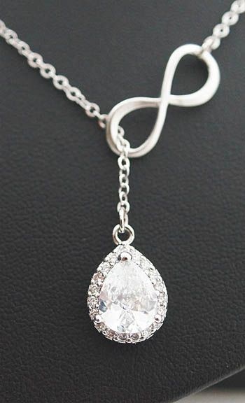 Infinity Necklace with Luxury Halo Style Cubic Zirconia Pendant Bridal Necklace from EarringsNation Bridesmaid Gift