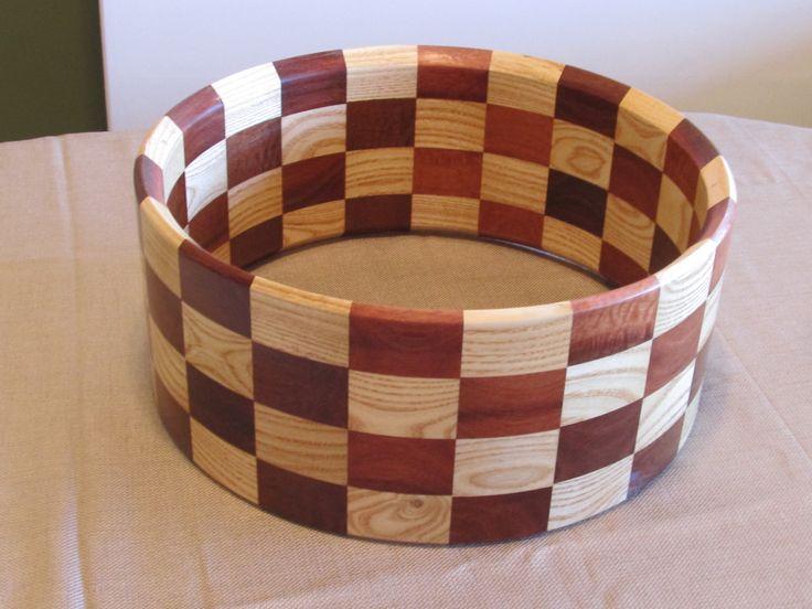 Jarrah / ash checkerboard stave drumshell
