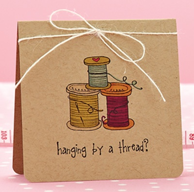 By a Thread Card by @Kelley Eubanks: Cards Ideas, Sewing Quilting Cards, Papercraft Ideas, Handmade Card, Gift Ideas, Sewing Cards, Card Ideas, Card Making, Booking Cards