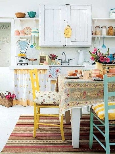 As one with a vintage (but under decorated) kitchen, I LOVE this. I like the use of mix-match floral fabrics and old jars.