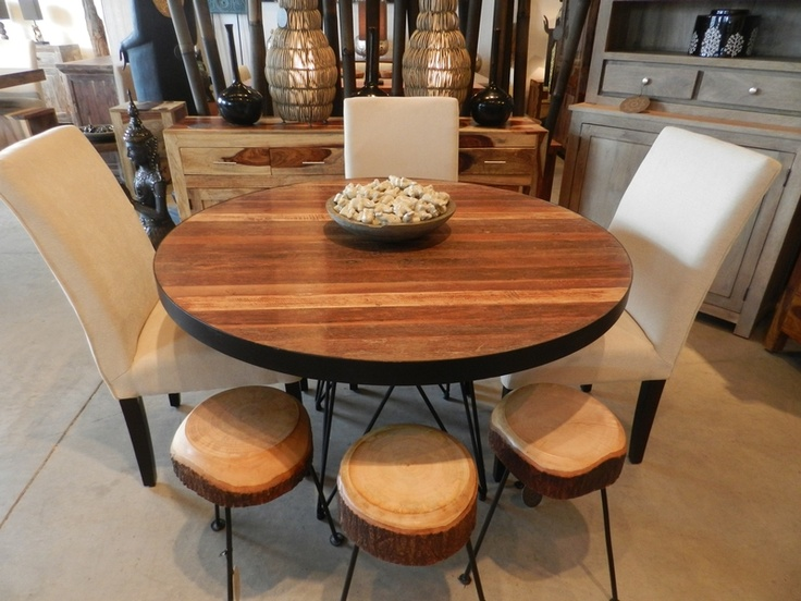 Artemano Pana Round Dining Table In Recycled Teak With Metal Legs