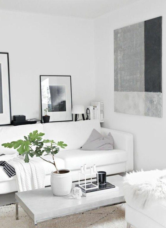 salon blanc et gris, idée déco salon peinture, canape en cuir blanc