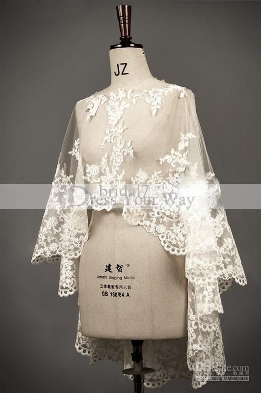 Wedding Shawl Capes Mantles Capelets Lace Trimmed Edged Boat Neck Wedding Bridal Dresses Accessary