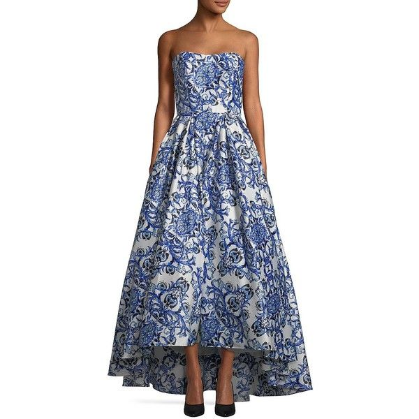 Betsy & Adam Women's Strapless Floral Ball Gown ($239) ❤ liked on Polyvore featuring dresses, gowns, white blue, sleeveless dress, sleeveless floral dress, pleated dress, strapless gown and floral printed dress