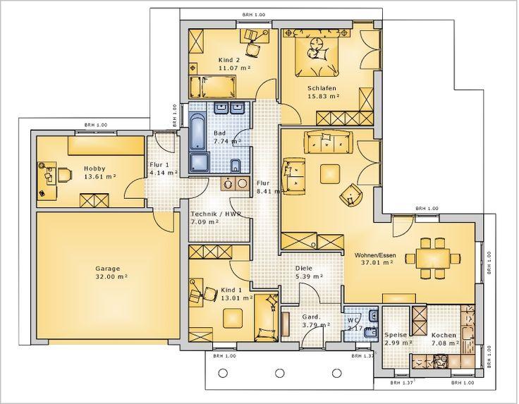 Bungalow SD 121 Grundriss mit Garage - K+K Immobilien, Immobilienmakler, Schlüsselfertige Häuser