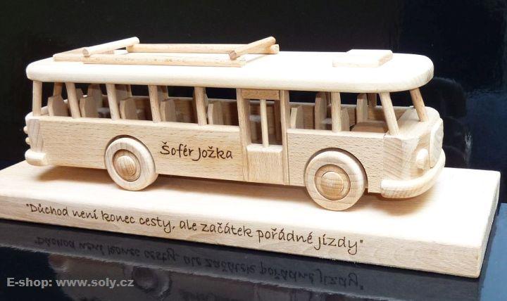 Autobus, dřevěná hračka, gravirování laser eshop  www.soly.cz