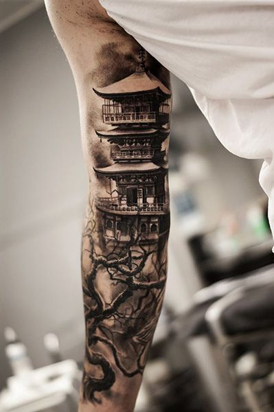 Chinese house on arm