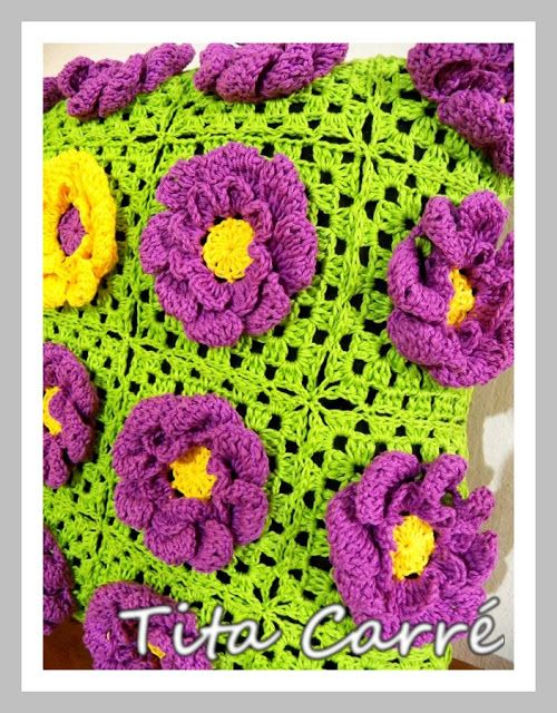 Almofada de Dália Roxa em crochet