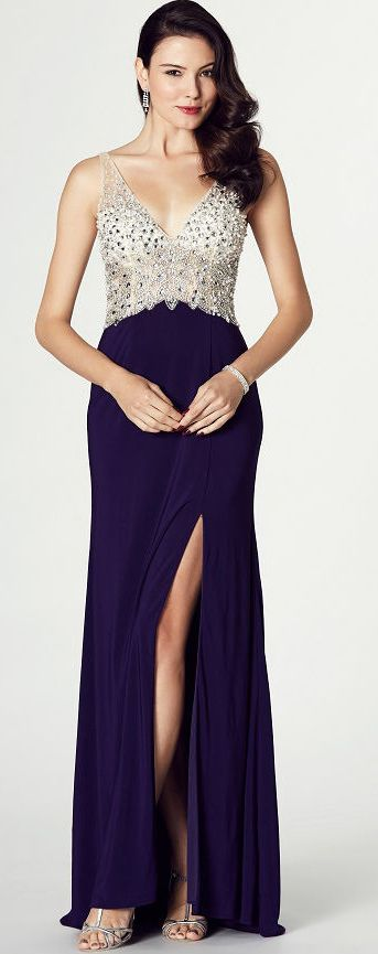 $139.79-V-Neck Sleeveless Beaded Jersey Evening Dress with Open Back and Slit.  http://www.ucenterdress.com/v-neck-sleeveless-beaded-jersey-prom-dress-pMK_301757.html.  Shop for affordable evening gowns, prom dresses, white dresses, party dresses for women, little black dresses, long dresses, casual dresses, designer dresses, occasion dresses, formal gowns, cocktail dresses . We have great 2016 Evening Gowns on sale now. #evening #gowns